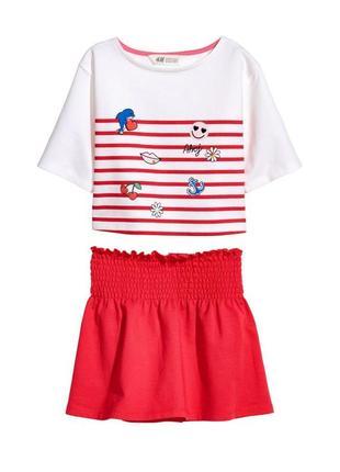 Новый костюм для девочки красно-белый, h&m, 0565188002