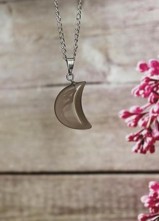 Кулон луна (серый агат)