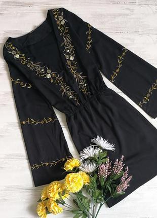 Красивенное платье с вышивкой и вырезом 120721 boohoo размер uk12/40 (m) черное