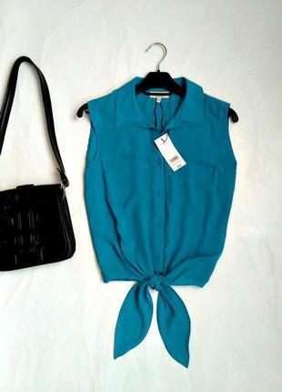 Легкая яркая блуза с завязками 10