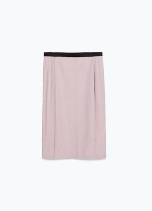Пудровая миди-юбка zara размер м