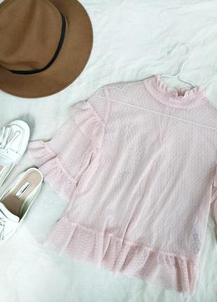 Милая блуза сетка с оборками от miss selfridge