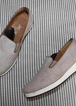 36/23,5см gabor кожаные фактурные слипоны на платформе туфли на танкетке
