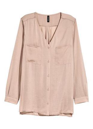 Бежевая блуза с треугольным вырезом h&m шёлковая пудра