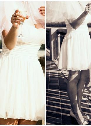 Красивое изысканное мини-платье для любого торжества, в т.ч. свадебное, перчатки в подарок