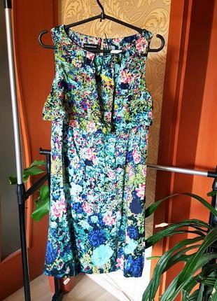 Летний пестрый сарафан платье warehouse