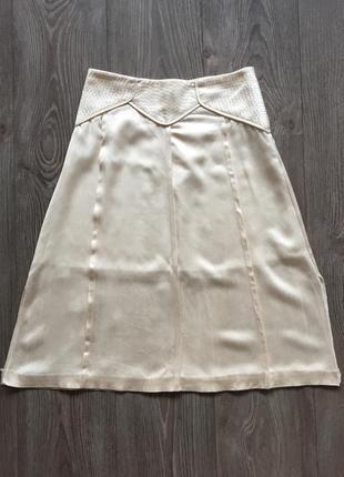Кремовая атласная юбка-трапеция bgn