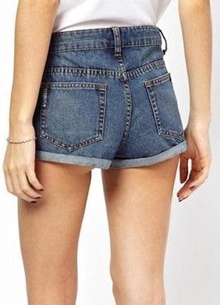 Шорты asos джинсовые рваные короткие открытые голубые летние пляжные отворотами новые