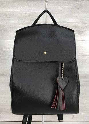 Сумка-рюкзак трансформер через плечо черный городской молодежный из кожзама