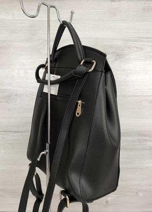 Рюкзак черный женский трансформер через плечо городской молодежная сумка рюкзак6 фото