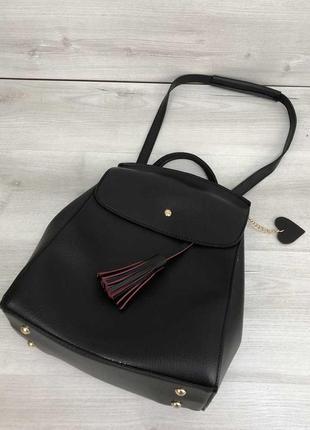 Рюкзак черный женский трансформер через плечо городской молодежная сумка рюкзак7 фото