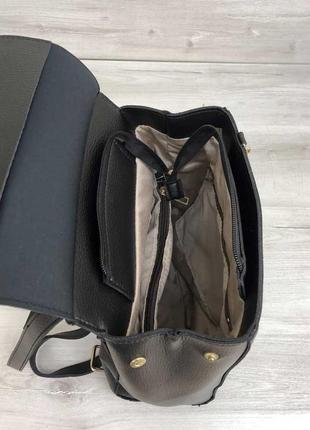 Рюкзак черный женский трансформер через плечо городской молодежная сумка рюкзак8 фото