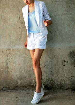 Шикарный ажурный костюмчик жакет + шорты tago (в наличии 34р, 36р)