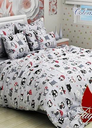1,5-спальный комплект постельного белья детский tag ранфорс совята, выбор расцветок
