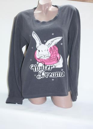 Кофта серая флисовая с белым кроликом пижамная или для дома tu (к000)