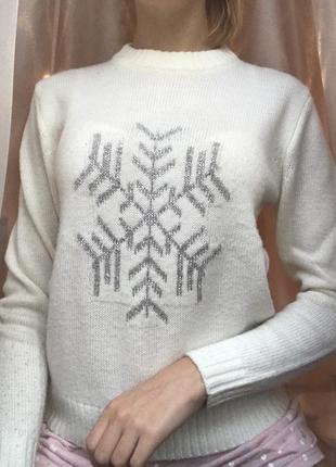 Белый свитер зимний свитер кофта с длинным рукавом