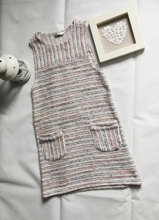 Фактурное вязанное платье в полоску с карманами