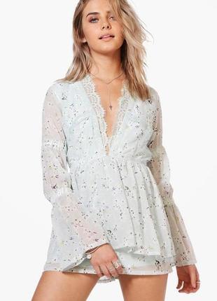 Очень красивый комбинезон с кружевом ромпер в бельевом стиле boohoo цветочный принт платье