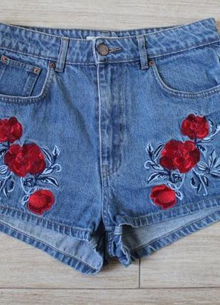 H&m coachella mom шорты с вышивкой розы с высокой посадкой