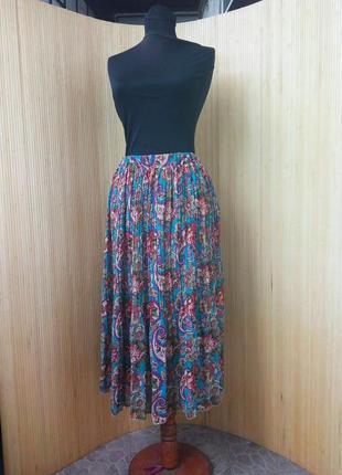 Трендовая шифоновая юбка плиссе ниже колена с поясом резинкой
