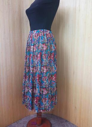 Трендовая шифоновая юбка плиссе ниже колена с поясом резинкой2 фото