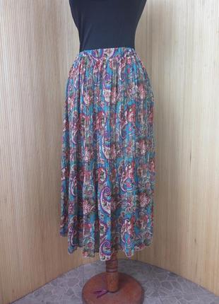 Трендовая шифоновая юбка плиссе ниже колена с поясом резинкой4 фото