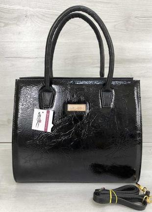 Черная деловая лаковая классическая сумка прямоугольный саквояж