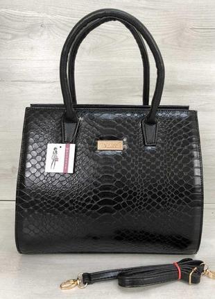 Черная деловая прямоугольная классическая сумка саквояж