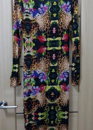 Миди платье в яркий принт topshop