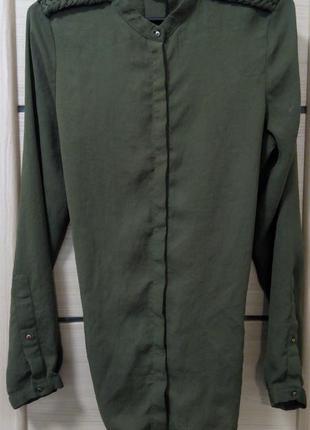 Рубашка цвета хаки zara