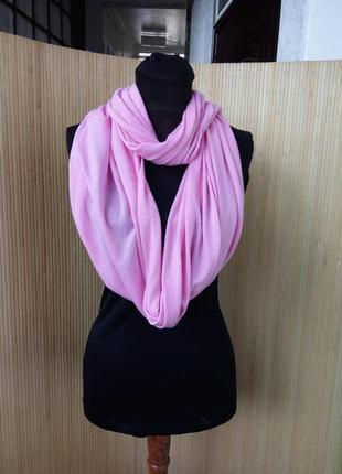 Розовый трикотажный снуд / шарф хомут
