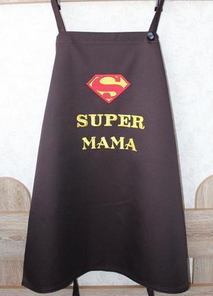 """Фартух із вишивкою """"super мама"""""""