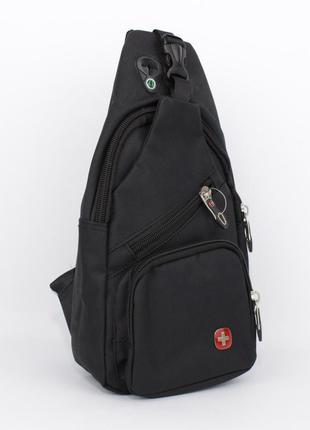 Сумка слинг через плечо swgelan 806 черная с выходом для наушников