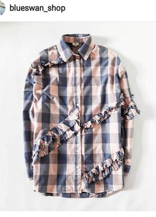 Нереальная рубашка из плотного материала с рюшами в клетку