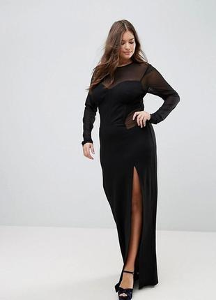 Бомбезное чёрное стройнящее платье asos длинное