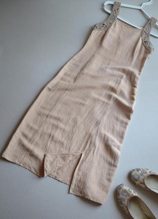 Льняное летнее платье, сарафан из льна по фигуре с кружевом xs s