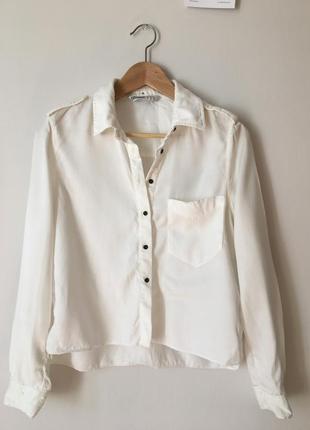 Белая укороченная рубашка zara