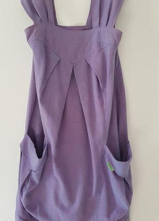 Стильное платье сарафан с карманами