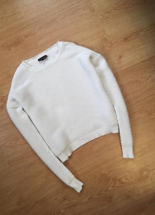 Фактурный белый укороченый джемпер, свитшот, свитер topshop