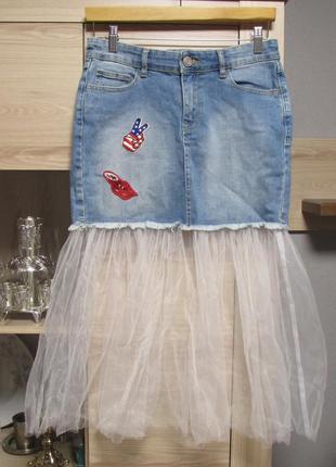 Модная джфнсовая юбка с фатином