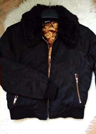 Куртка бомбер с меховым воротником missguided