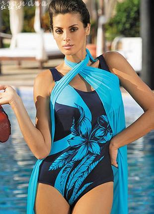Cassandra marko m-279 синий сдельный купальник с голубыми цветами