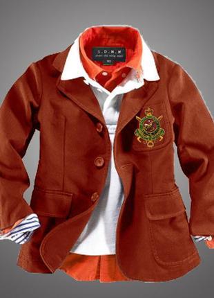Бордовый пиджак мальчику р. 3-4года -рост 100см новый s.d.m.m