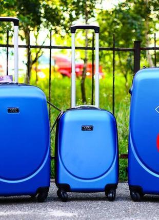 Качество! комплект чемоданов пластиковых со скидкой! большой + средний + маленький!
