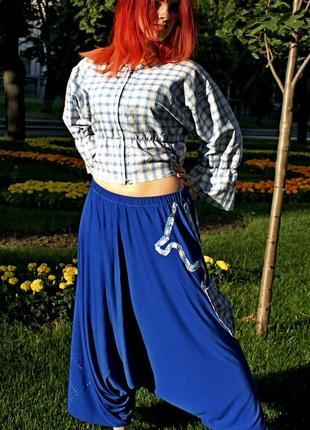 Удобные и креативные трикотажные юбка-брюки с жакетом из льна