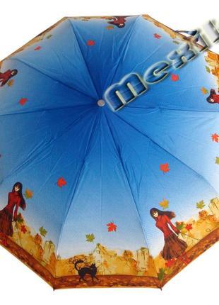 Модный зонт zest полуавтомат 10 спиц. расцветка девушка с котом
