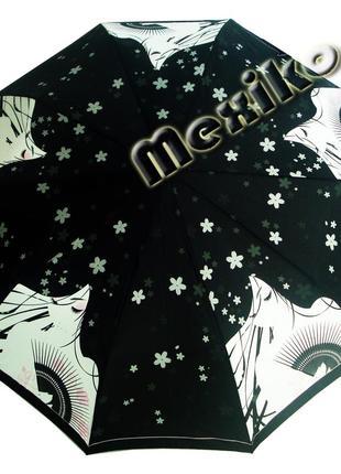 Модный зонт zest полуавтомат 10 спиц. расцветка девушка с веером