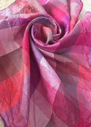 Шейный сумочный носовой шелковый платок/ шов роуль/ натуральный шелк pure-нежный