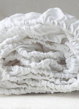 Простынь льняная белая на резинке