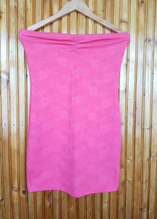 Розовое фактурное платье бюстье мини от pink woman